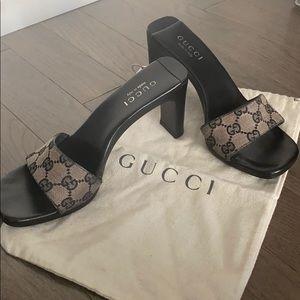 Vintage Gucci Slide Heel with Original GG Canvas